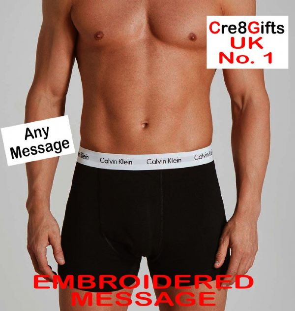 Personalised Calvin Klein Mens Boxer Shorts - to have and to hold - ON THE LEG